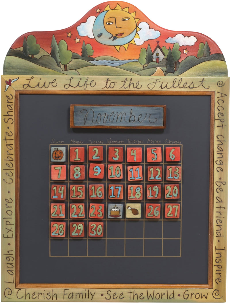 Small Perpetual Calendar –  Lovely perpetual calendar with sun and moon motif and rolling landscape