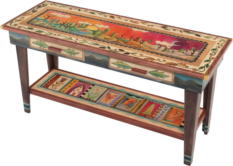 Sticks handmade sofa table with colorful four seasons design