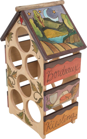 Sticks handmade wine rack with lovely elegant motif