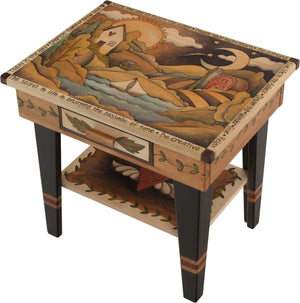 Nightstand with Open Shelf –  Beautiful neutral and birch nightstand with rolling landscape, sun and moon, and vine motifs