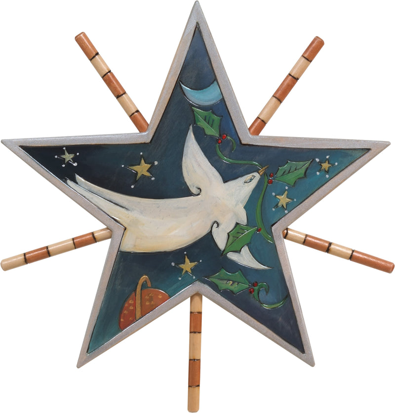 Tree Star –  Christmas peace dove floating among the stars with a vine of holly