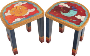 Short Stool Set –  Stool set with smiley sun and sleepy moon motif