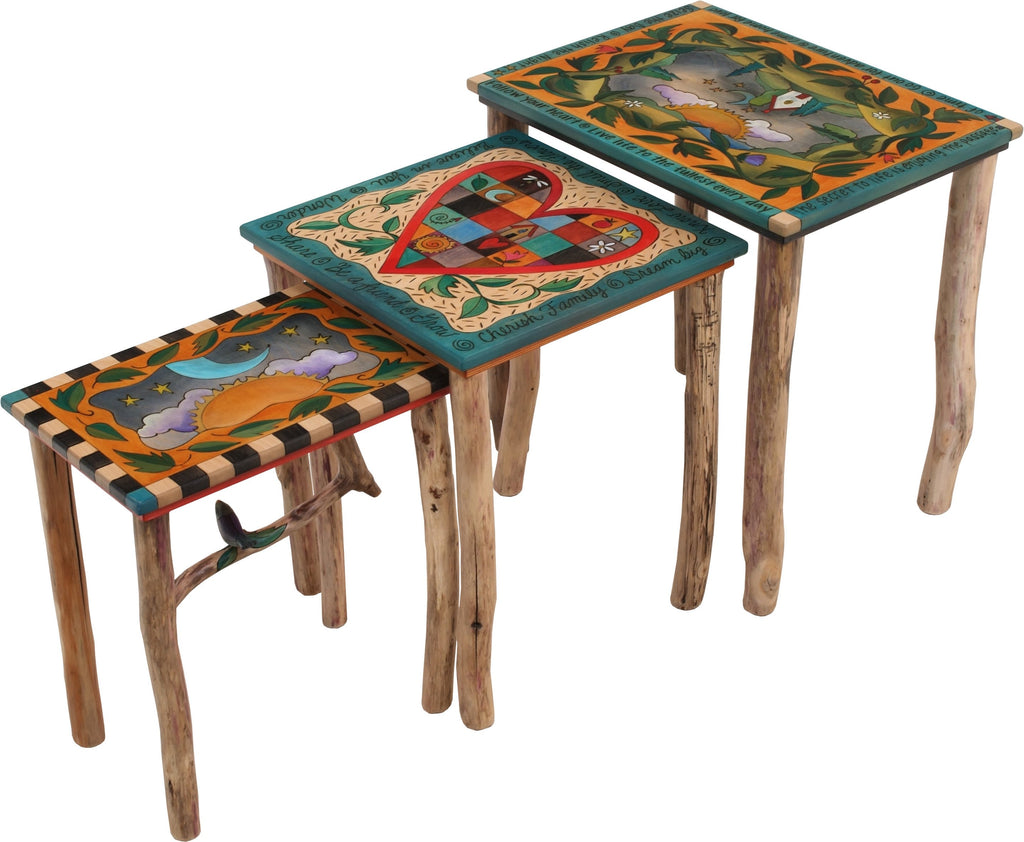 "Nesting Table Set –  ""Live Life to the Fullest Every Day"" nesting table set with sun and moon over a cozy home on the rolling hills motif"