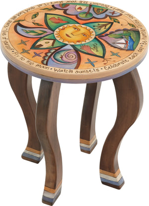 Round End Table –  Eclectic round table with playful imagery