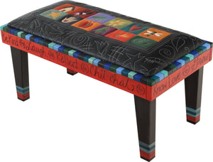 Sticks handmade 3' bench with leather and colorful block and chalkboard design