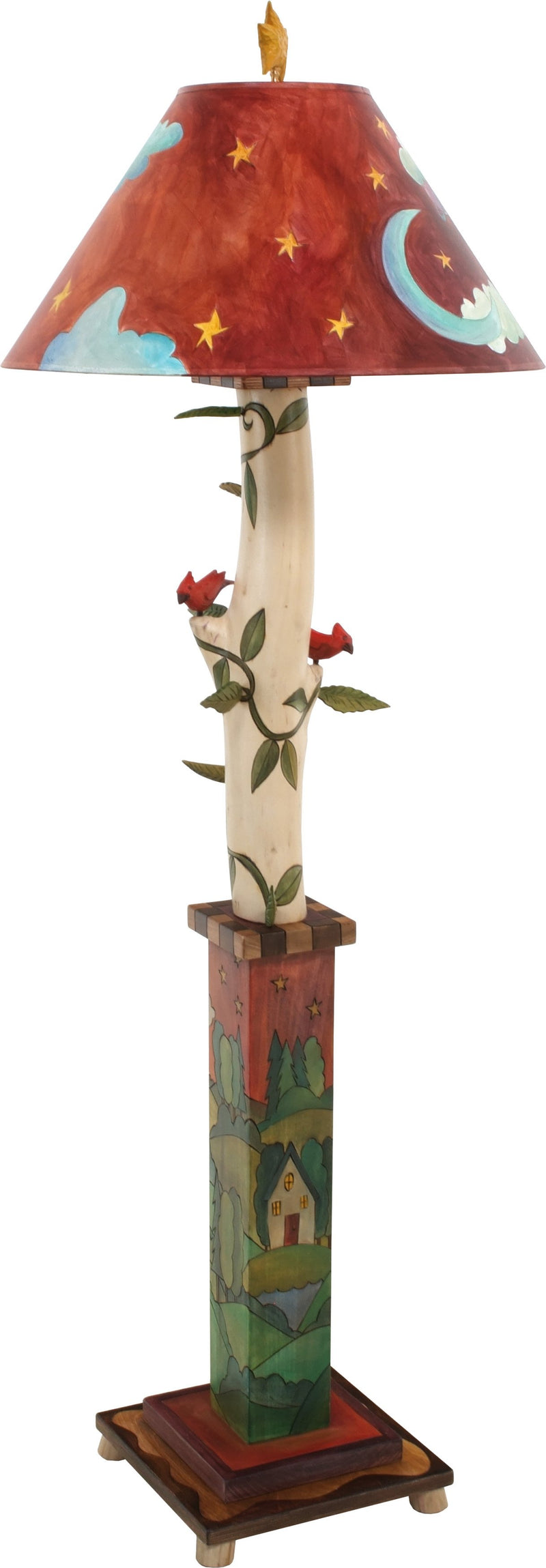 Box and Log Floor Lamp –  Creative folk art floor lamp with eclectic bird and leaf elements