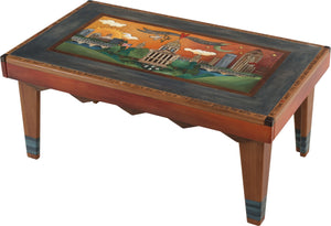 Rectangular Coffee Table –  Lovely Des Moines skyline coffee table in rich hues