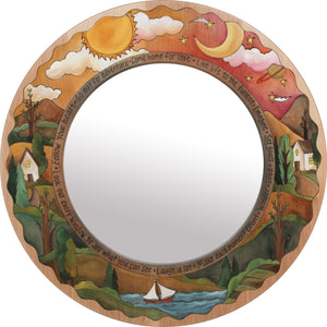 "Large Circle Mirror –  ""Live Life to the Fullest"" circle mirror with sunset and moon over the horizon motif"