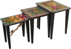 "Nesting Table Set –  ""Seize the Day/Relish the Night"" nesting table set with sun and moon over the rolling hills motif"