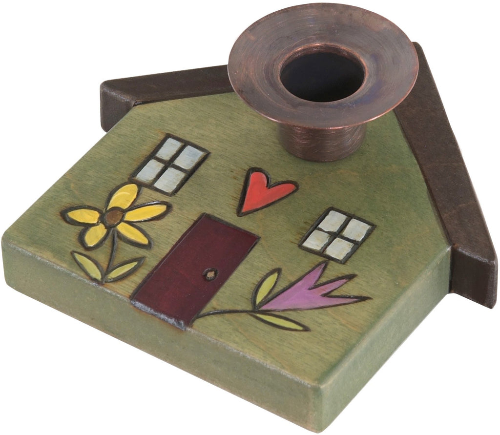 House-Shaped Candle Holder –  House-shaped candle holder with cozy home and flower motif
