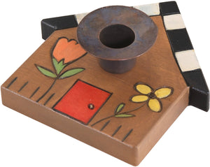 House-Shaped Candle Holder –  House-shaped candle holder with black and white checkered roof and flowers