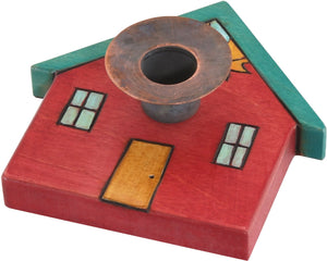 House-Shaped Candle Holder –  House-shaped candle holder with sun and moon motif