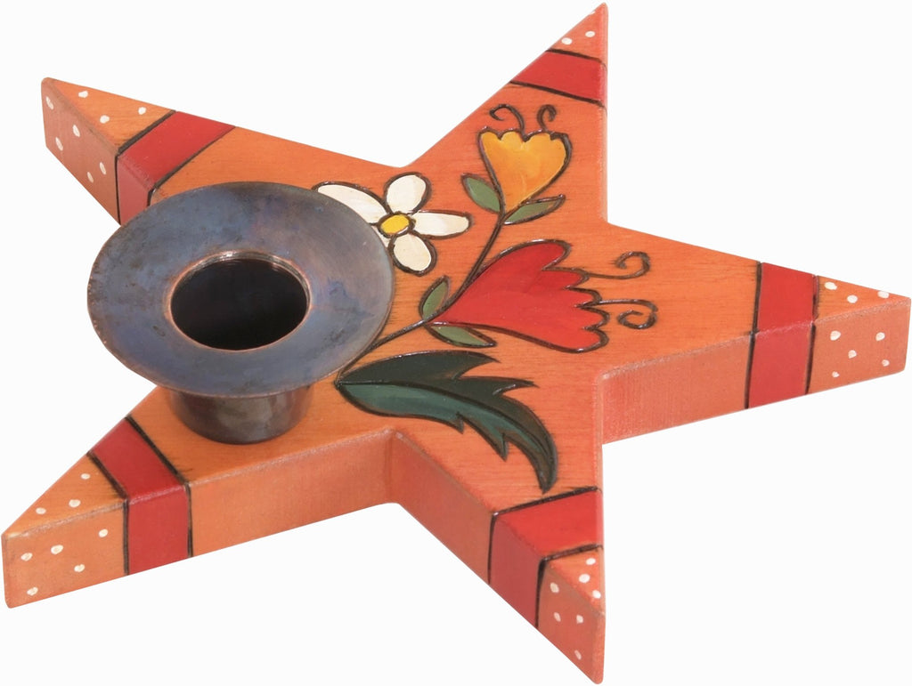 Star-Shaped Candle Holder –  Charming star-shaped candle holder with floral motifs