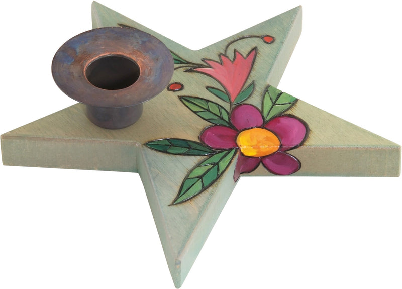 Star-Shaped Candle Holder –  Lovely little star-shaped candle holder with floral motif