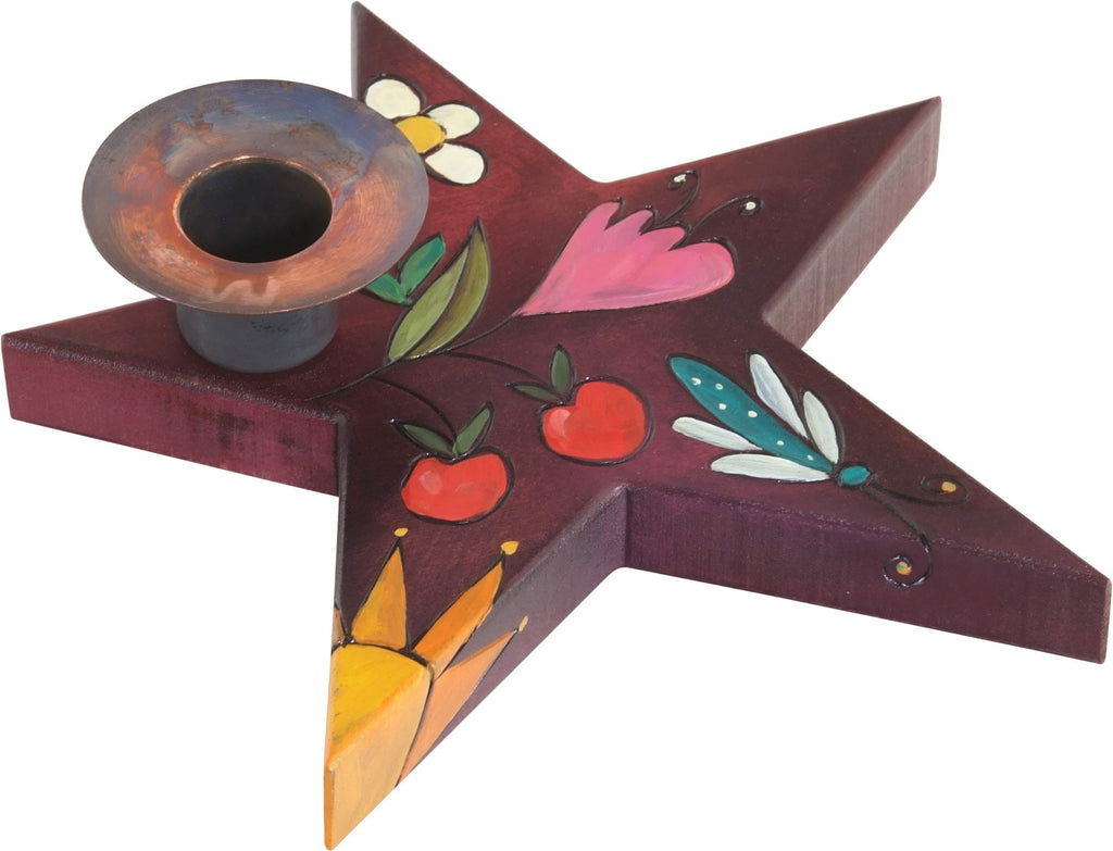 Star-Shaped Candle Holder –  Star-shaped candle holder with flower and sun motif