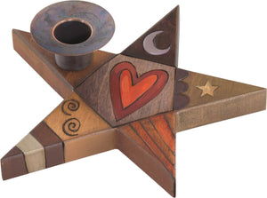 Star-Shaped Candle Holder –  Star-shaped candle holder with heart and moon motif