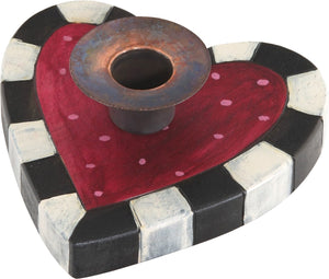 Heart-Shaped Candle Holder –  Heart-shaped candle holder with pink polka dots and black and white checkered border