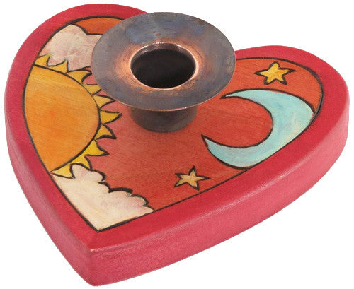 Sticks handmade candle holder heart shaped with sun and moon