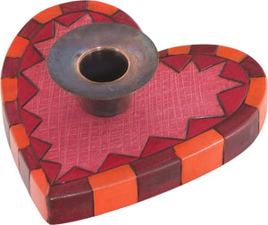 Heart-Shaped Candle Holder –  Heart-shaped candle holder with orange and red checkered border
