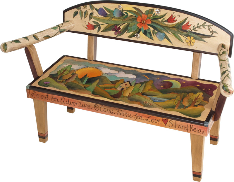 Loveseat –  Ornate loveseat bench with landscape painting, sun and moon and floral motifs