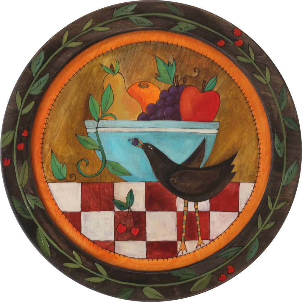 Sticks handmade tray with bowl of fruit and a bird with berries