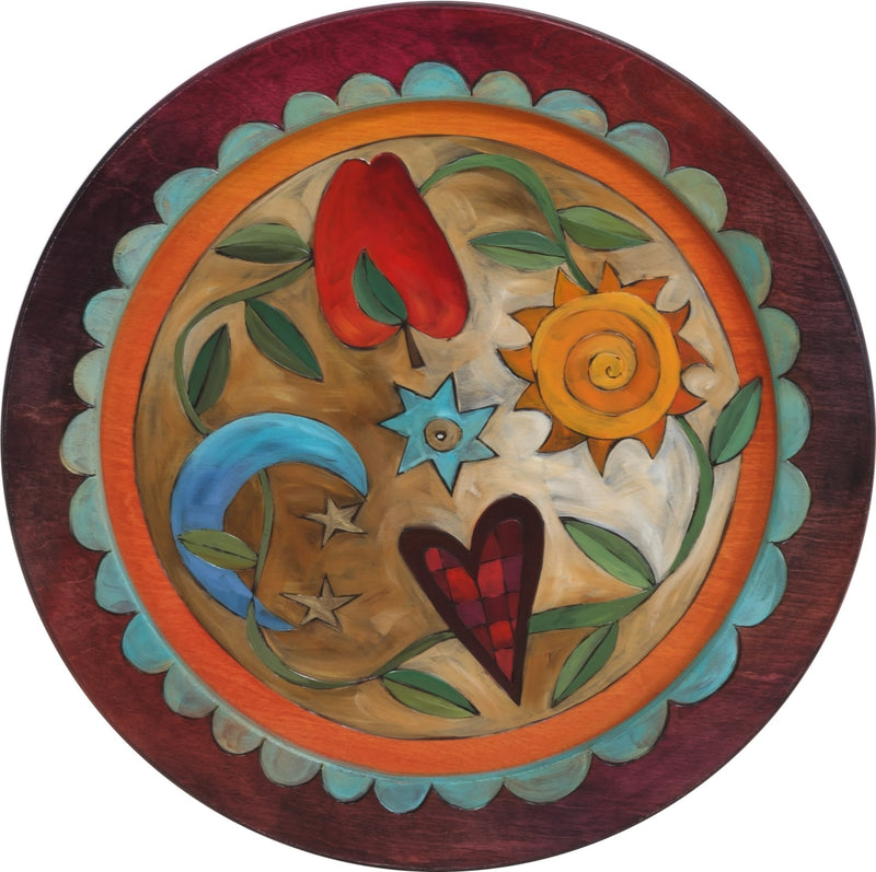 "16"" Round Tray –  Sun and Moon round tray with sun and moon motif"