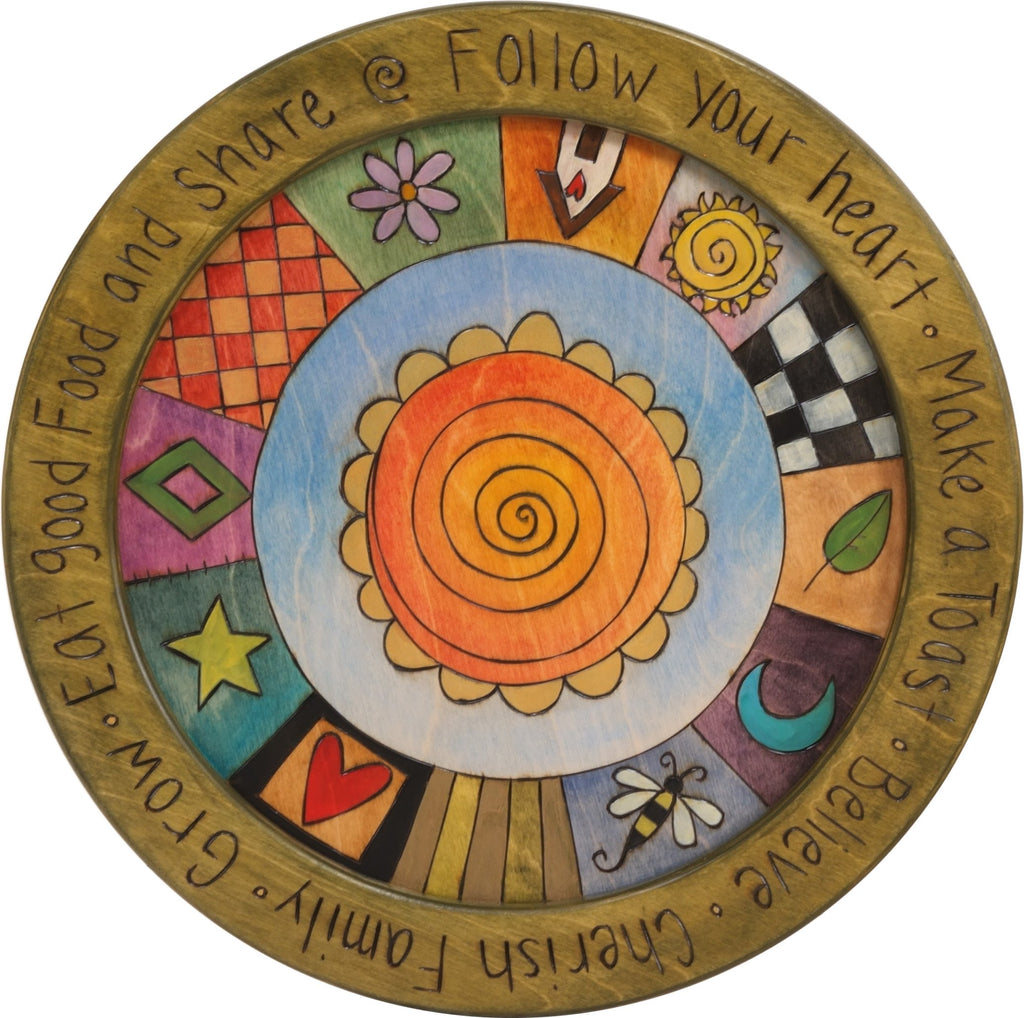 "18"" Round Tray –  Follow your Heart round tray with sun motif"