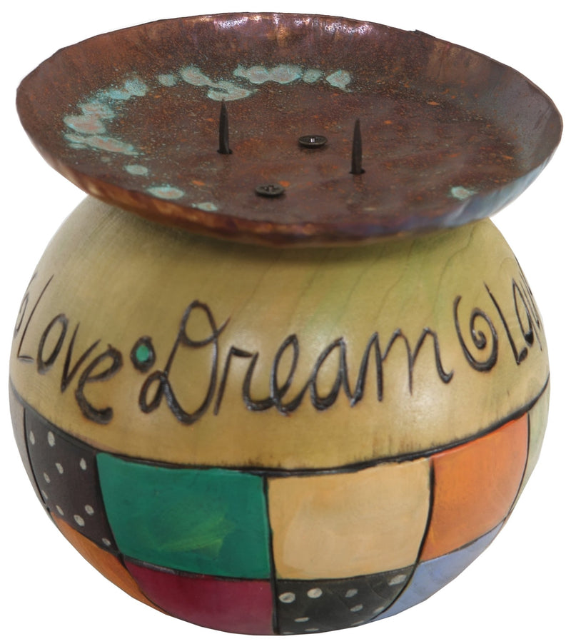 Ball Candle Holder –  Candle base with inspirational phrases and color blocks