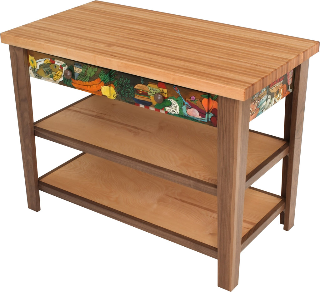Kitchen Island –  Colorful and beautiful kitchen island with meal and drink motifs and two drawers for storage