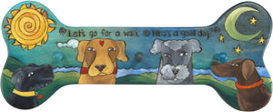 Horizontal Dog Leash Rack –  Playful leash rack with multiple pups and a sun and moon motif