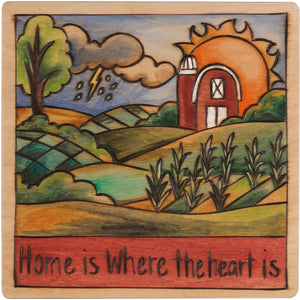 "10""x10"" Plaque –  ""Home is where the heart is"" farm landscape motif"
