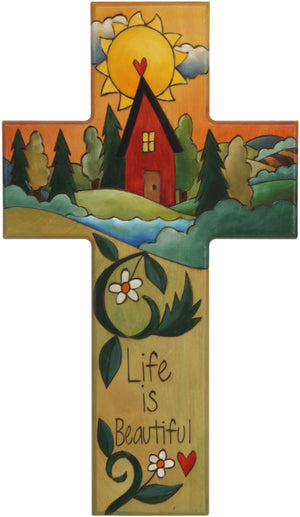 Cross Plaque –  Life is Beautiful cross plaque with home on the horizon with sun motif