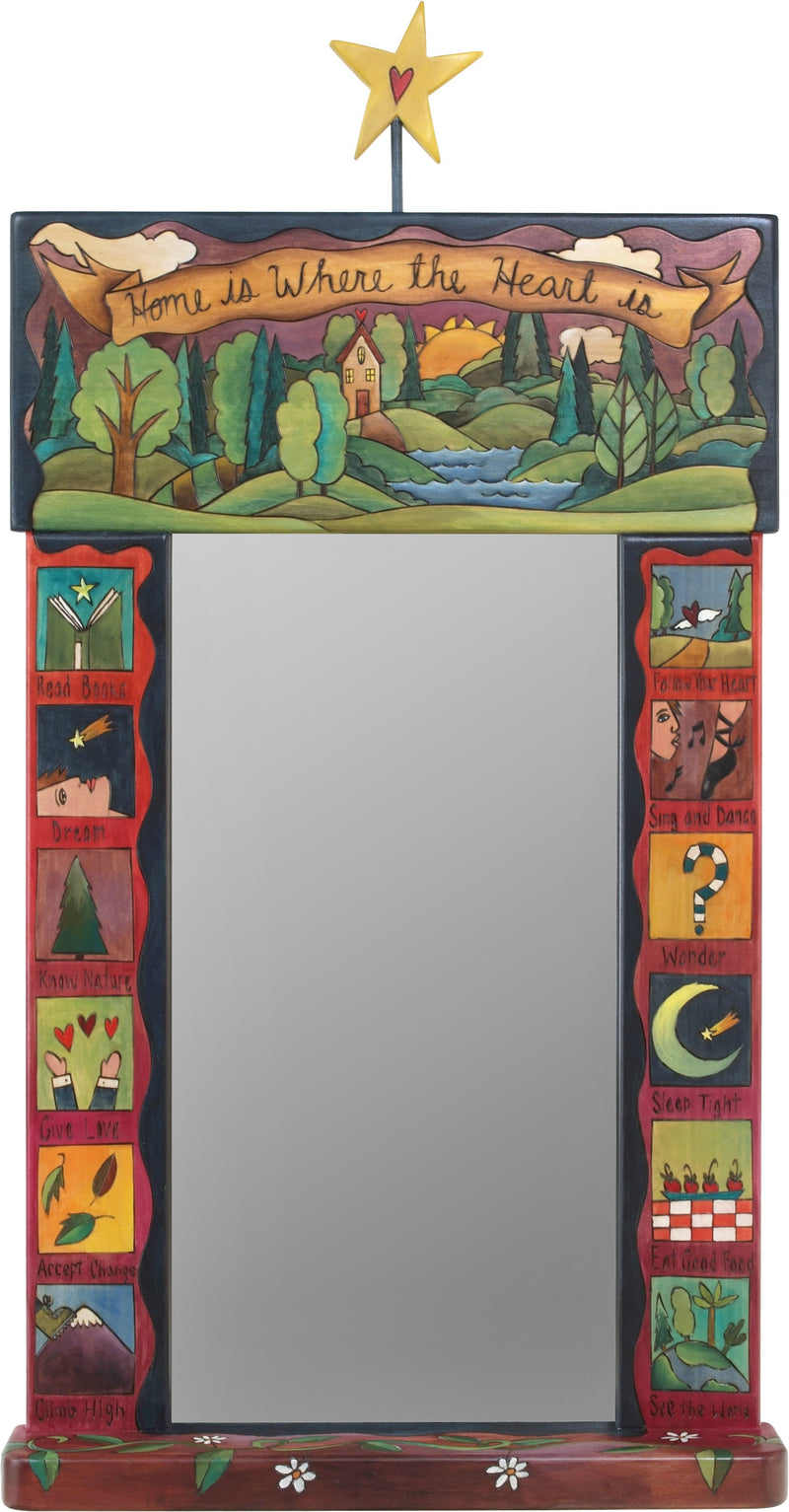 "Large Mirror –  ""Home is where the Heart is"" mirror with home in the woods motif"