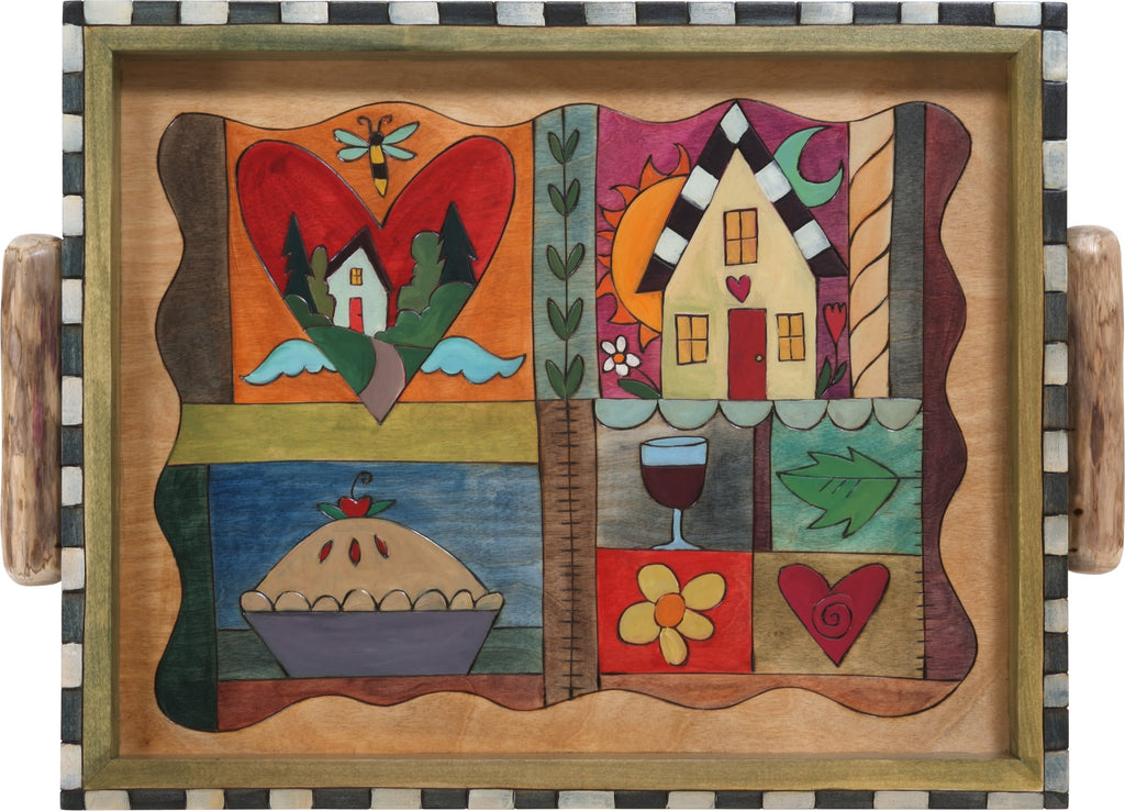 Small Rectangular Tray –  Elegant tray with colorful block motifs and checker board border