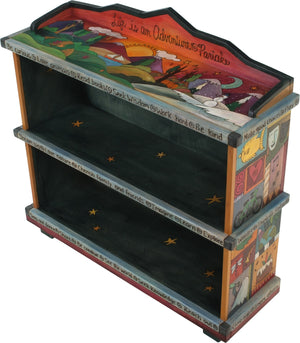 "Short Bookcase –  ""Life is an Adventure/Partake"" bookcase with warm sun setting over the changing four seasons motif"