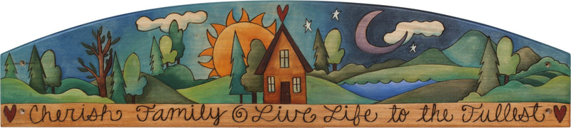 "Door Topper –  ""Cherish Family, Live Life to the Fullest,"" Sun and moon motif door topper with a landscape painting and heart home"