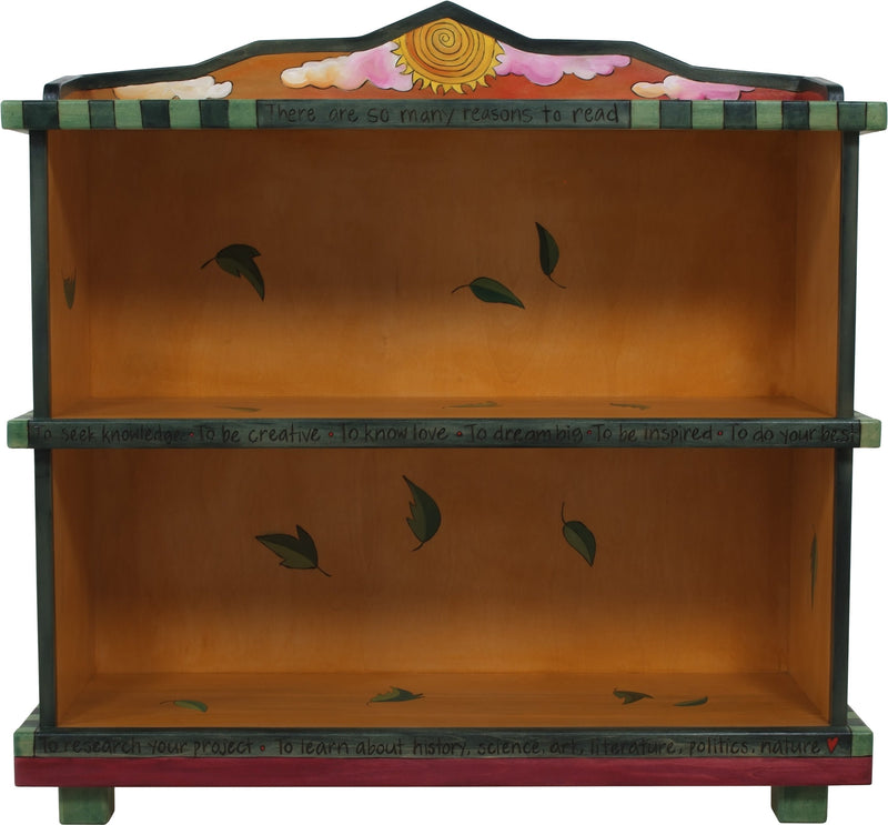 "Short Bookcase –  ""To Learn about History, Science, Arts, Literature, Politics, Nature"" bookcase with beautiful sunset over city and country landscape motif"