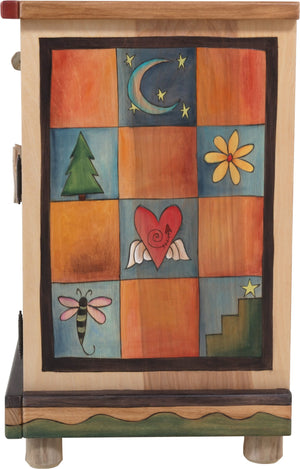 Sticks handmade nightstand with tree of life and colorful landscape and block imagery