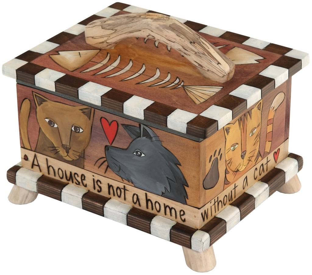 Pet Treat Box – Cute cat treat box with kitty and fish bone motifs in a warm neutral palette