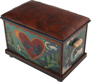 "Chest with Leather Top –  ""My Life Story"" chest with leather top with heart, sun and moon motif"
