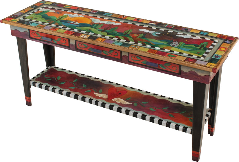 Sticks handmade sofa table with colorful rolling landscape
