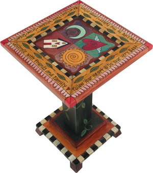 Martini End Table –  Lovely end table with colorful block icons, patterns and inspirational phrases