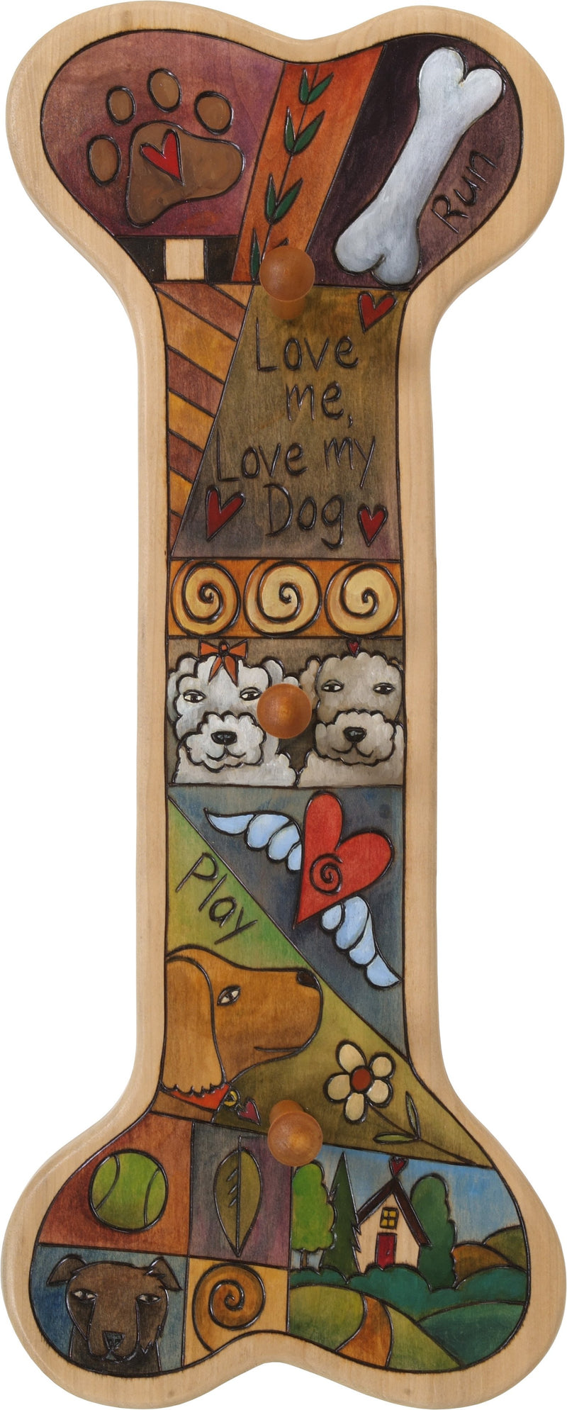 Vertical Dog Leash Rack –  Elegant and neutral dog lease plaque with many dogs and colorful block icons