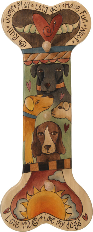 Vertical Dog Leash Rack –  Dog bone shaped leash rack with painted dogs, a sun and a heart with wings