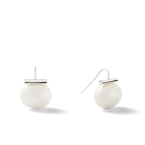 Sterling Large Pebble Pearl Earrings in White – Catherine Canino's most popular design is a classic piece for your wardrobe in a clean white color