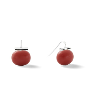Sterling Large Pebble Pearl Earrings in Turquoise – Catherine Canino's most popular design is a classic piece for your wardrobe with a vibrant turquoise blue stone, option for sterling silver/oxblood coral combo