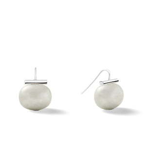 Sterling Large Pebble Pearl Earrings in Soft Grey – Catherine Canino's most popular design is a classic piece for your wardrobe as shown with a light, soft grey stone