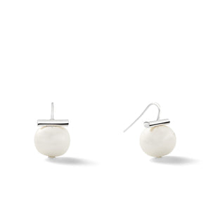 Sterling Medium Pebble Pearl Earrings in White – Catherine Canino's most universal size and it's Catherine's personal fave, here as a classic white pearl stone