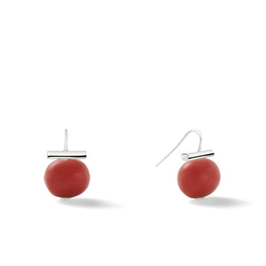 Sterling Medium Pebble Pearl Earrings in Oxblood Coral – Catherine Canino's most universal size and it's Catherine's personal fave, shown here with a bold red stone
