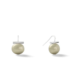 Sterling Medium Pebble Pearl Earrings in Beetle – Catherine Canino's most universal size and it's Catherine's personal fave, the stone option shown here is a green-ish grey hue